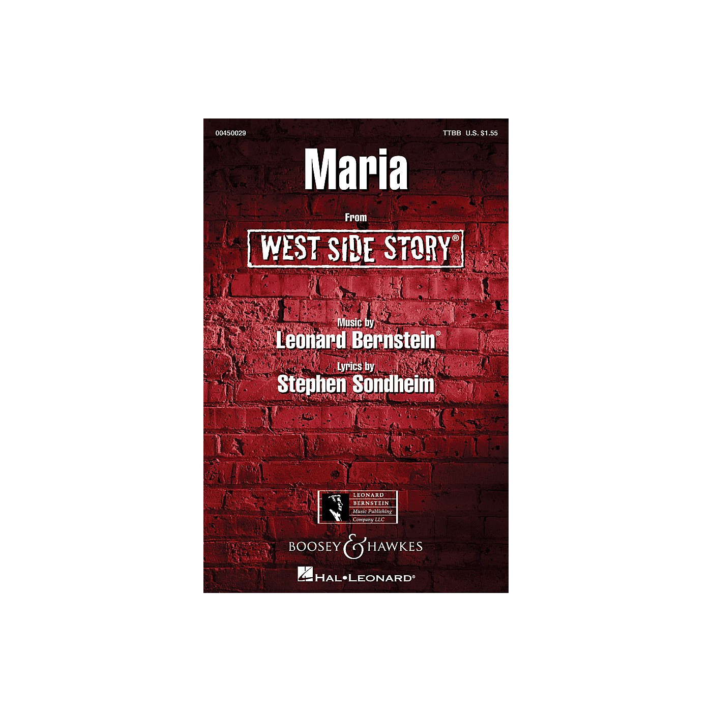 Hal Leonard Maria (from West Side Story) TTBB Arranged by William Stickles thumbnail
