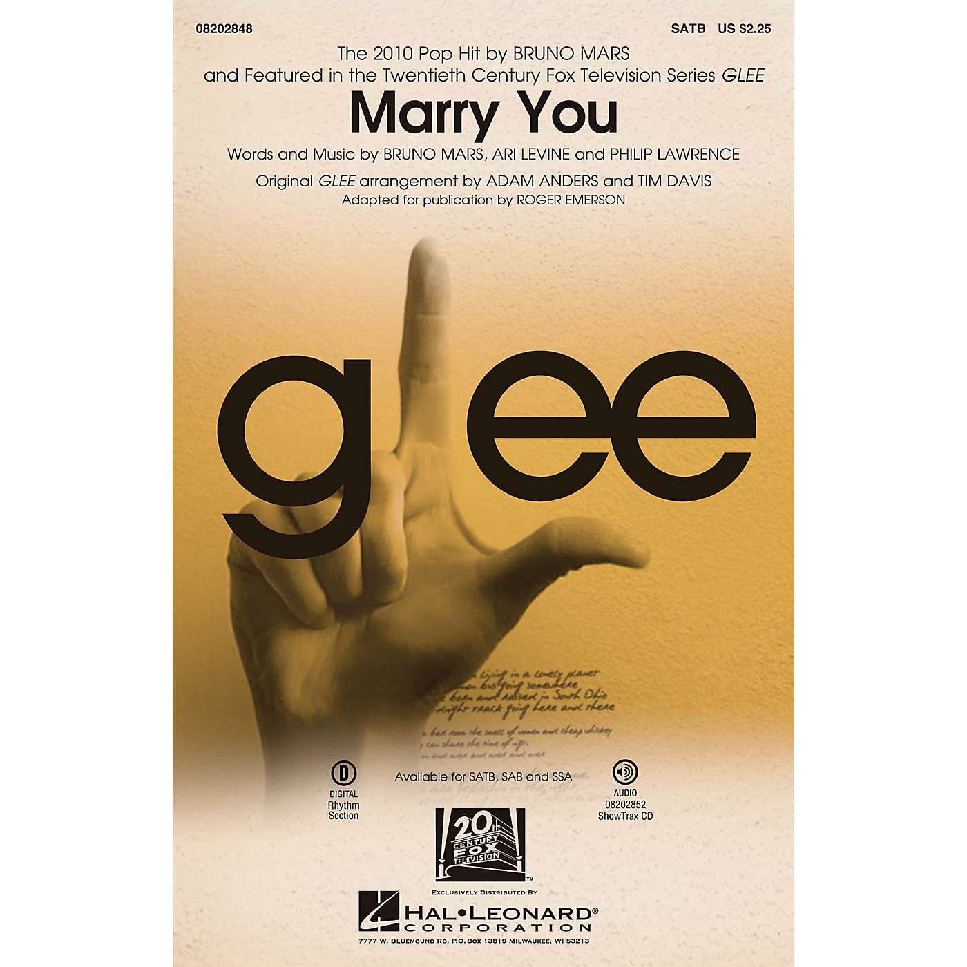 Hal Leonard Marry You (featured in Glee) SAB by Bruno Mars Arranged by Adam Anders thumbnail