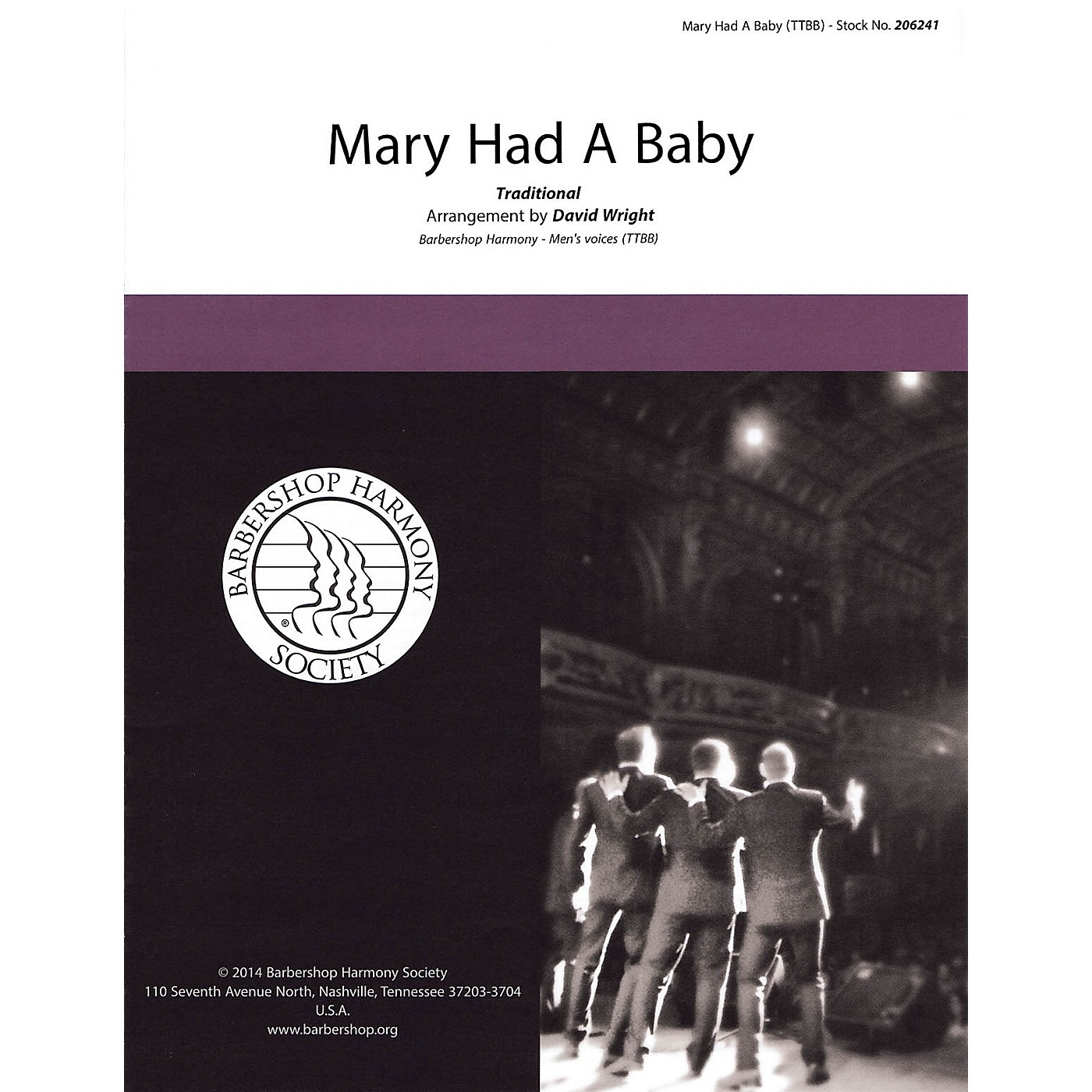 Hal Leonard Mary Had a Baby TTBB A Cappella arranged by David Wright thumbnail