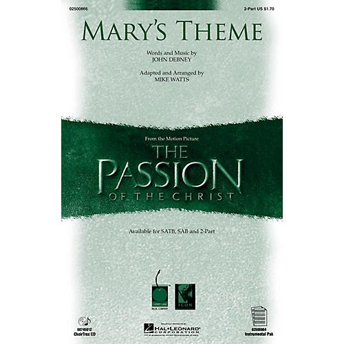 Hal Leonard Mary's Theme (from The Passion of The Christ) 2-Part arranged by Mike Watts thumbnail