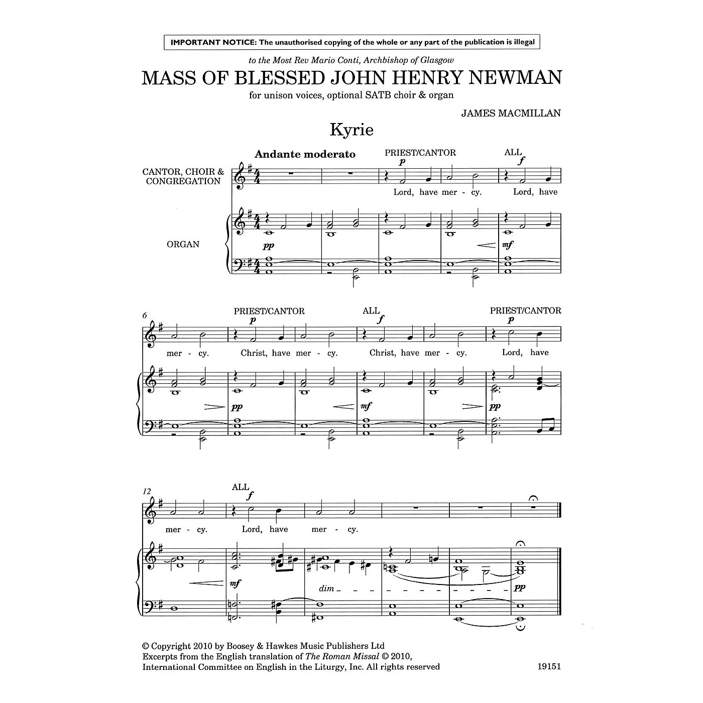 Boosey and Hawkes Mass of Blessed John Henry Newman (Unison, opt. SATB, and Organ Vocal Score) composed by James MacMillan thumbnail