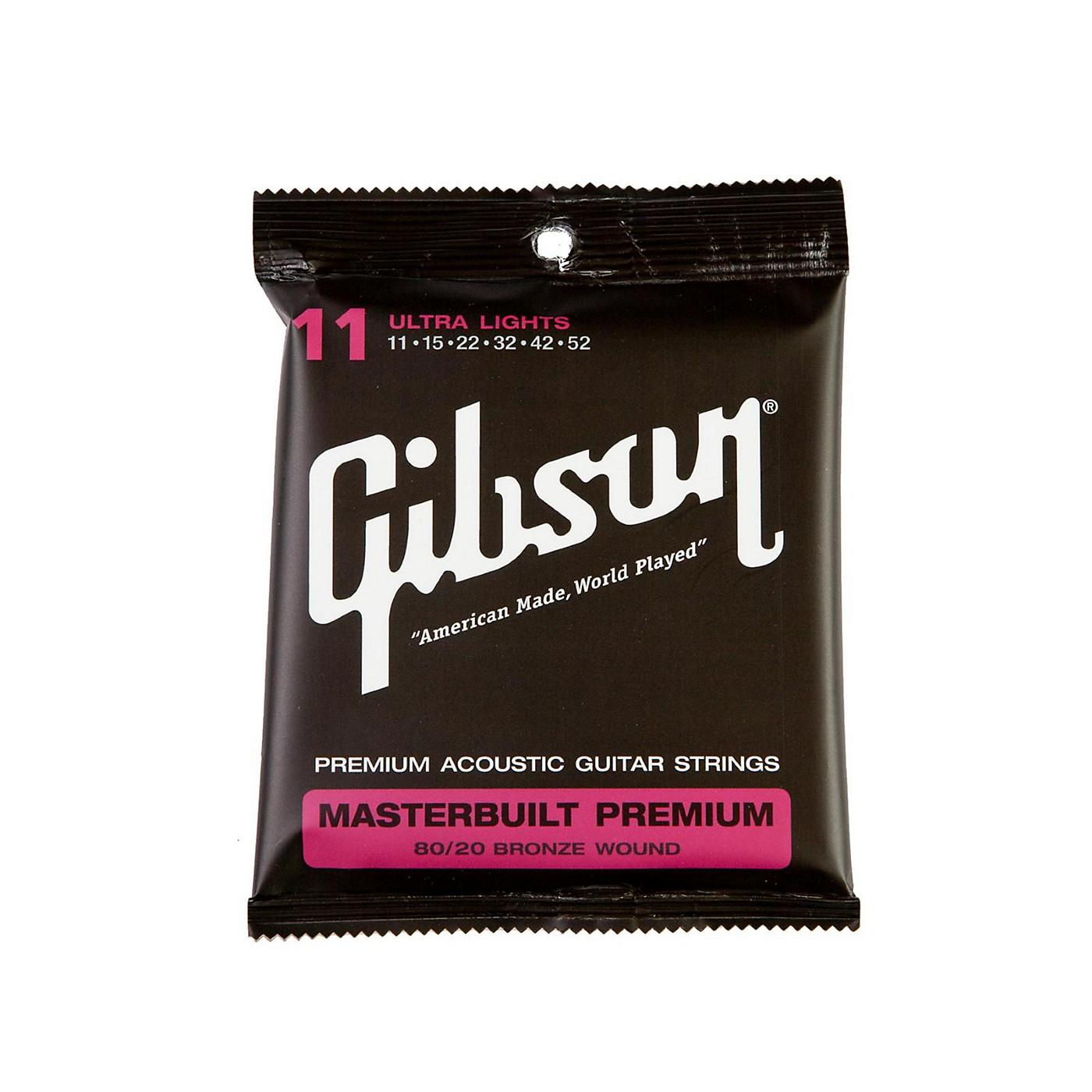 Gibson Masterbuilt Premium 80/20 Bronze Ultra Light Acoustic Guitar Strings thumbnail