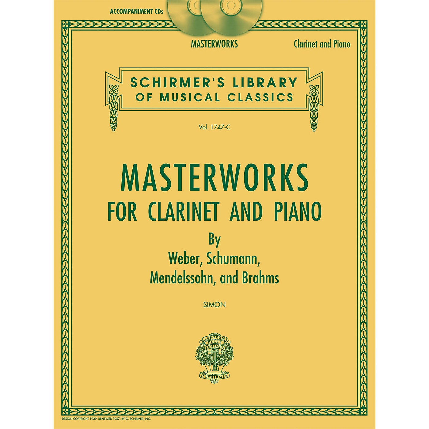 G. Schirmer Masterworks for Clarinet and Piano Woodwind Solo Series CD Composed by Various Edited by Eric Simon thumbnail
