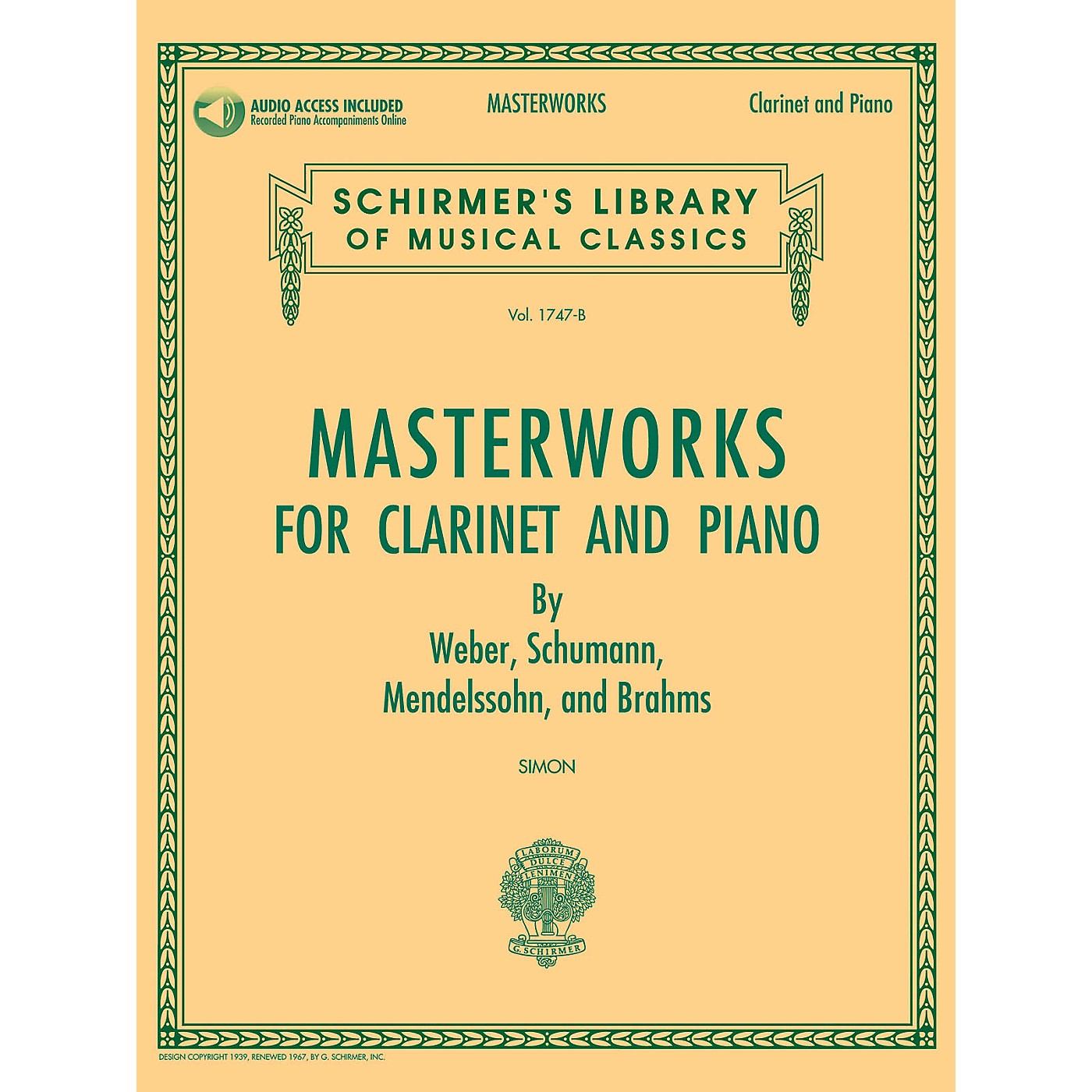 G. Schirmer Masterworks for Clarinet and Piano Woodwind Solo Softcover Audio Online Edited by Eric Simon thumbnail