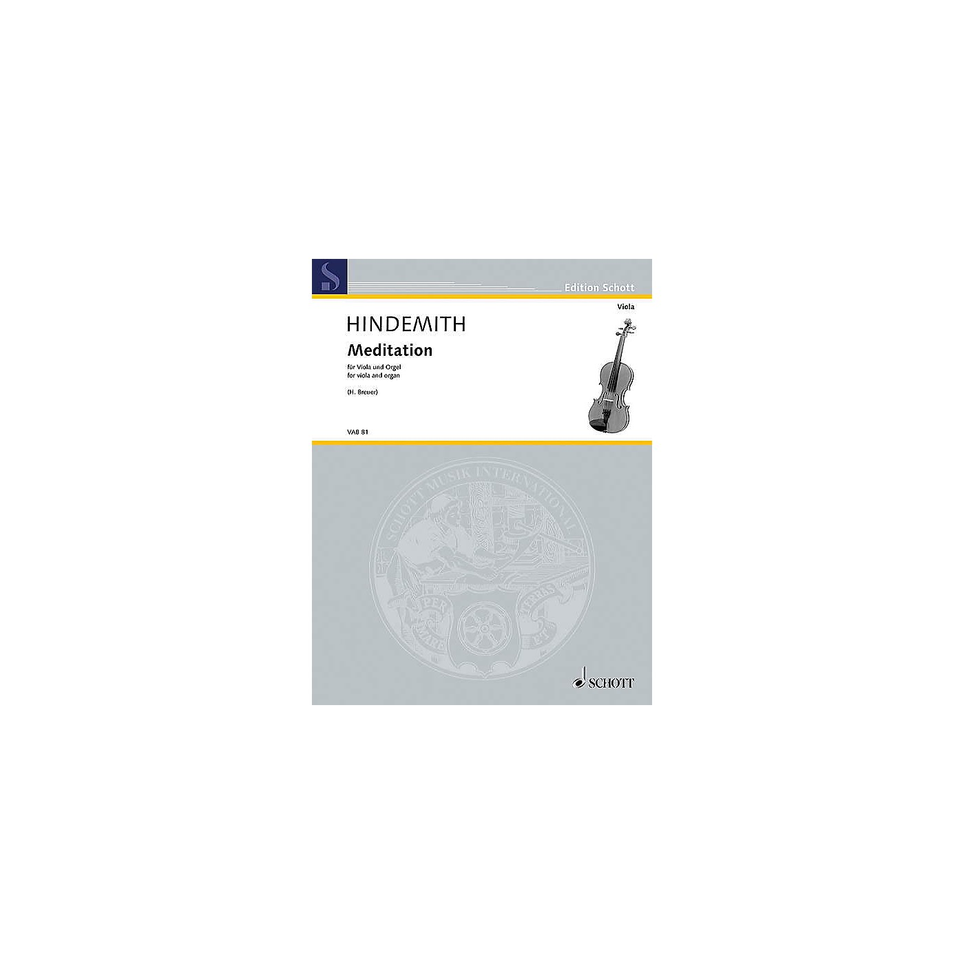 Schott Meditation from Nobilissima Visione (arranged for Viola and Organ) String Series Softcover thumbnail