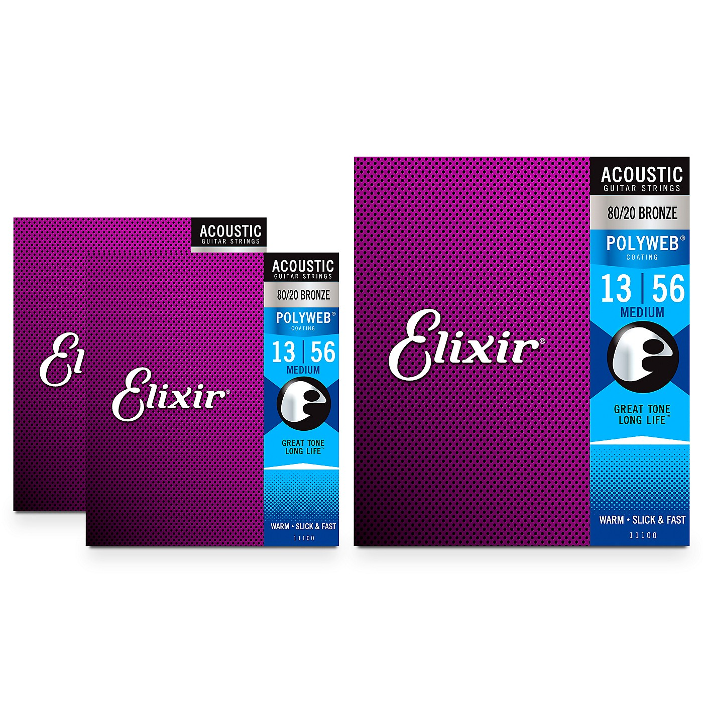 Elixir Medium Polyweb Acoustic Guitar Strings (.013-.056) 3 Pack thumbnail