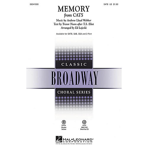 Hal Leonard Memory (from Cats) 2-Part Arranged by Ed Lojeski thumbnail