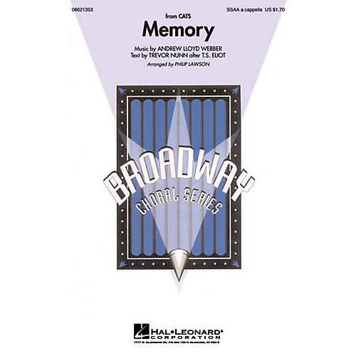 Hal Leonard Memory (from Cats) SSAA A Cappella arranged by Philip Lawson thumbnail