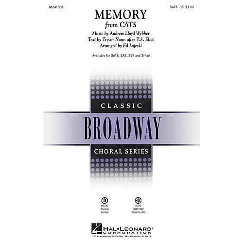 Hal Leonard Memory (from Cats) ShowTrax CD Composed by Andrew Lloyd Webber thumbnail