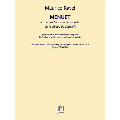 Durand Menuet from Le Tombeau de Couperin - Violin and Piano by Ravel thumbnail