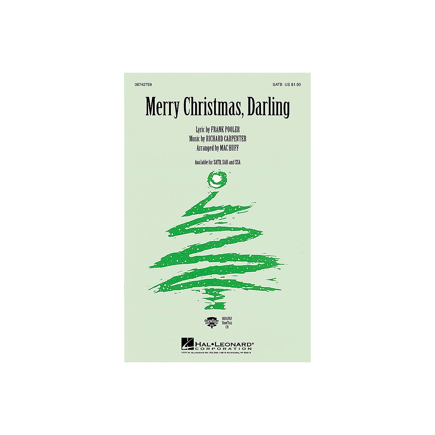 Hal Leonard Merry Christmas, Darling SATB by The Carpenters arranged by Mac Huff thumbnail