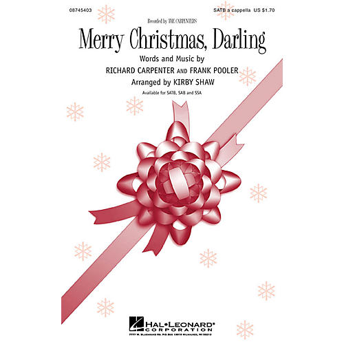 Hal Leonard Merry Christmas, Darling SSA A Cappella Arranged by Kirby Shaw thumbnail