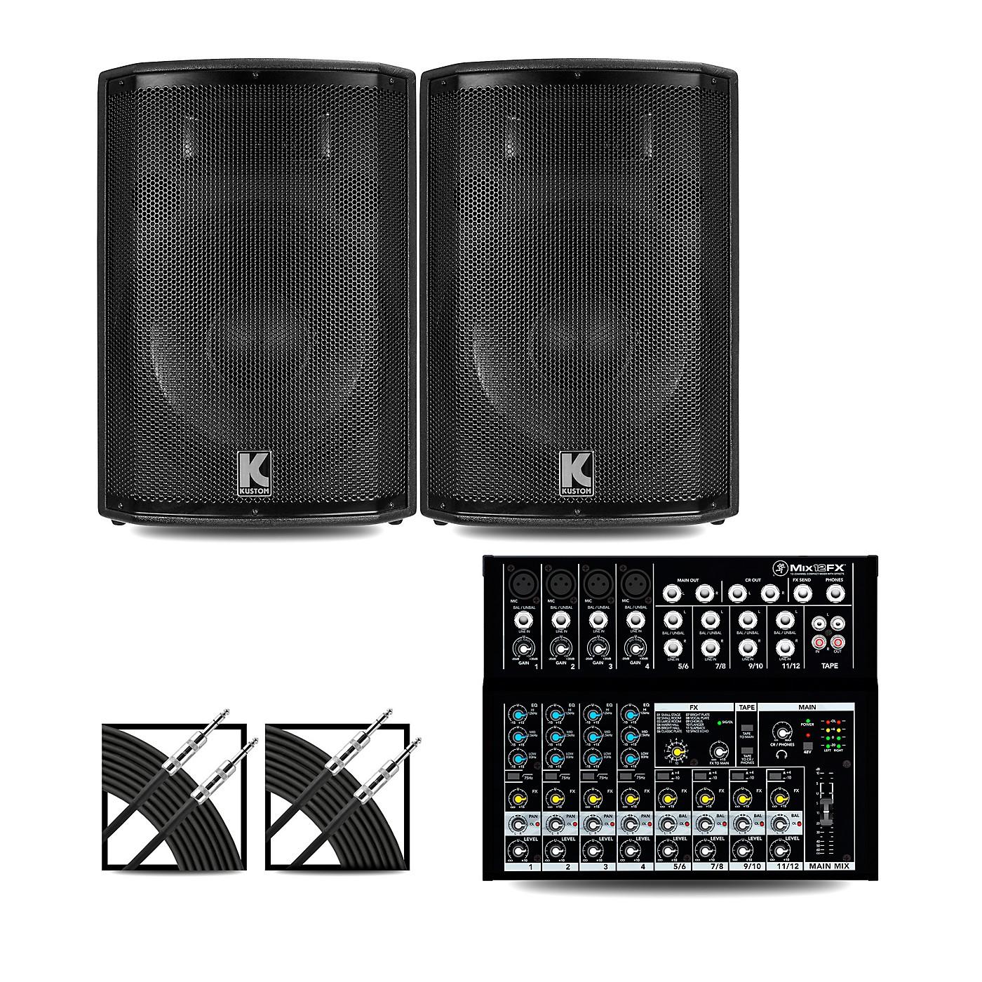 Mackie Mix12FX Mixer and Kustom HiPAC Speakers thumbnail