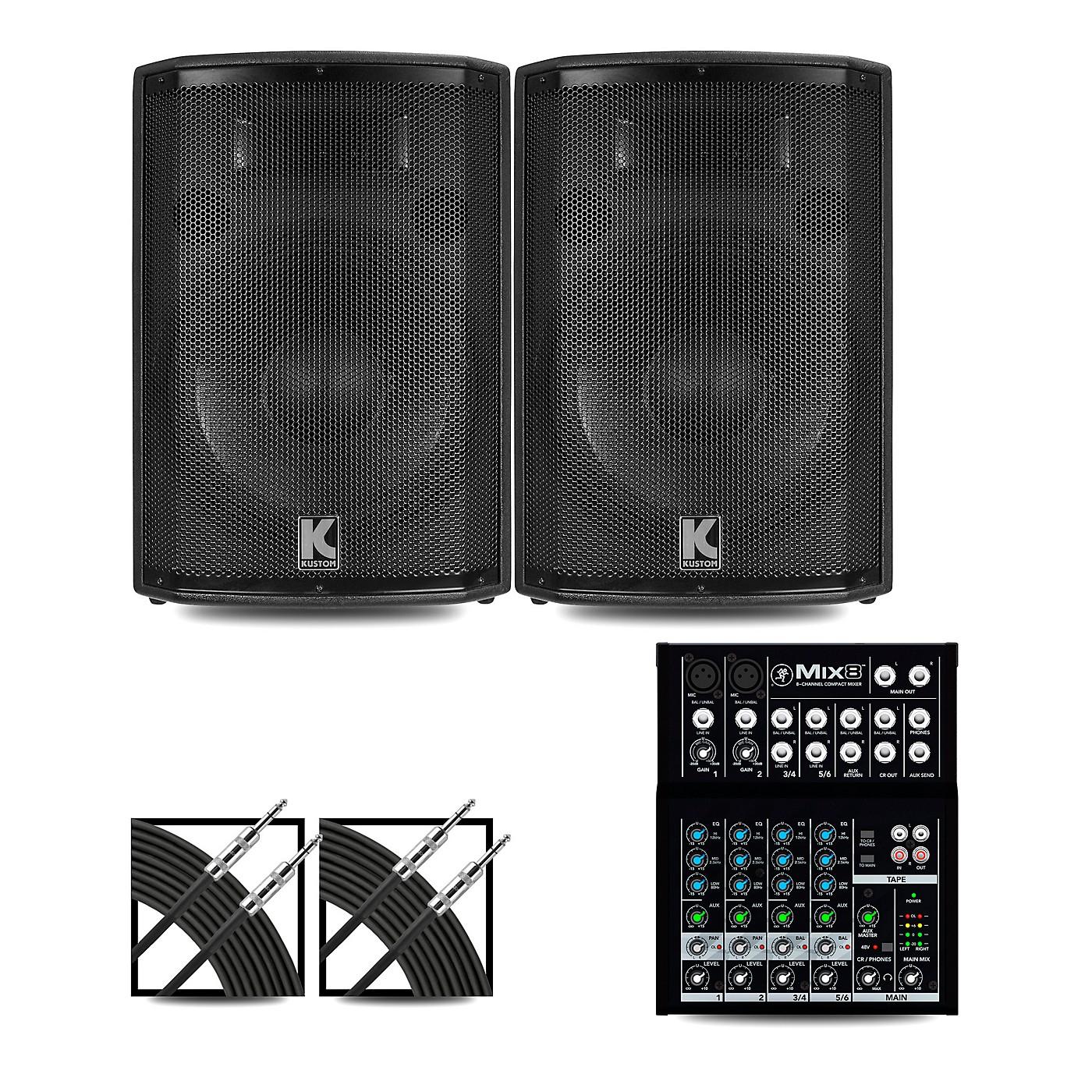 Mackie Mix8 Mixer and Kustom HiPAC Speakers thumbnail