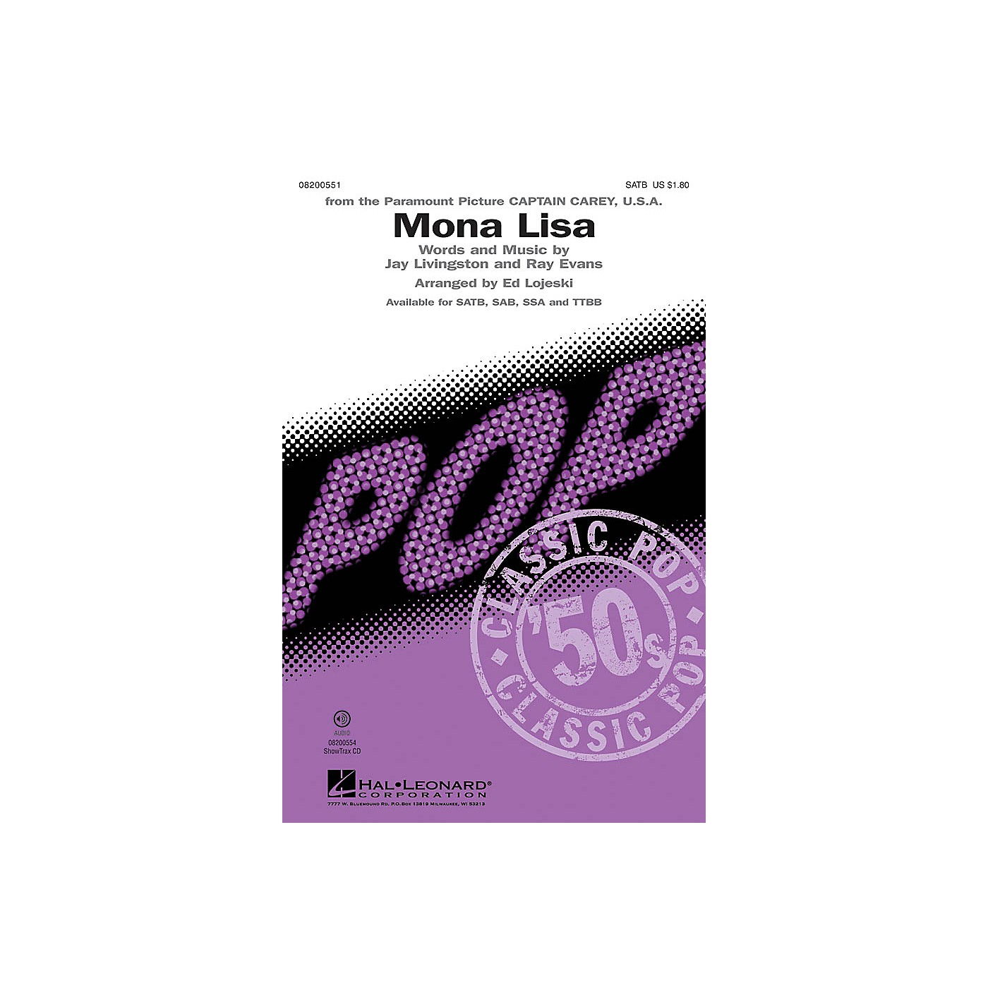 Hal Leonard Mona Lisa SAB by Nat King Cole Arranged by Ed Lojeski thumbnail