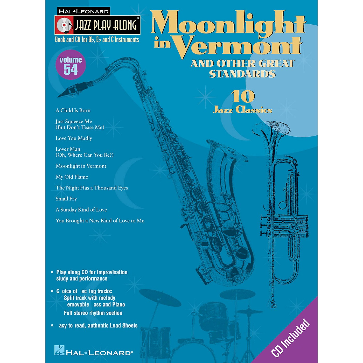 Hal Leonard Moonlight in Vermont & Other Great Standards Jazz Play Along Series Softcover with CD by Various thumbnail