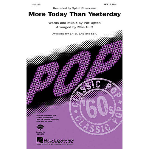 Hal Leonard More Today Than Yesterday SSA by Spiral Staircase Arranged by Mac Huff thumbnail