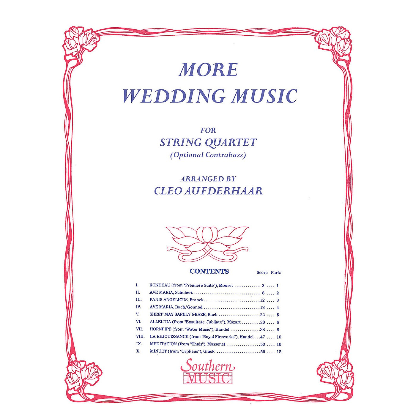 Southern More Wedding Music (String Quartet) Southern Music Series Arranged by Cleo Aufderhaar thumbnail