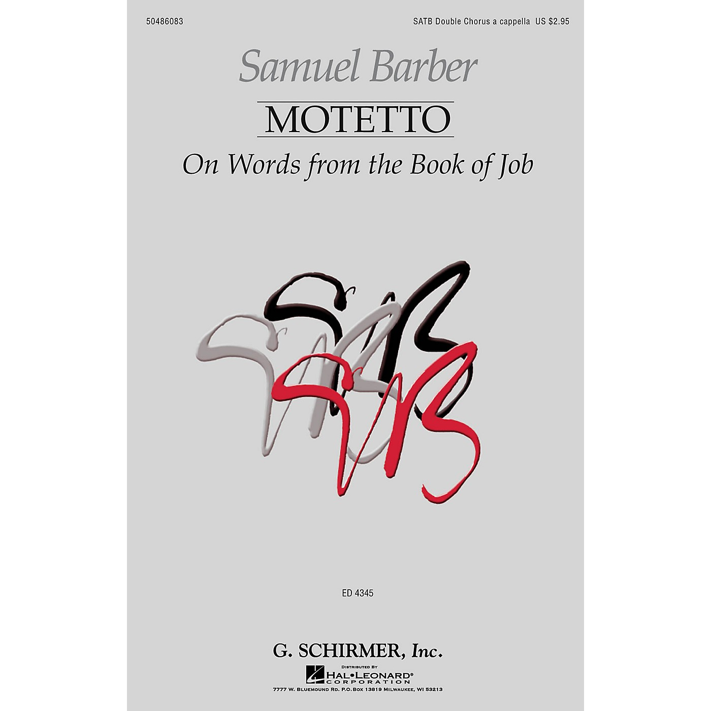 G. Schirmer Motetto on Words from the Book of Job SATB Double Choir composed by Samuel Barber thumbnail
