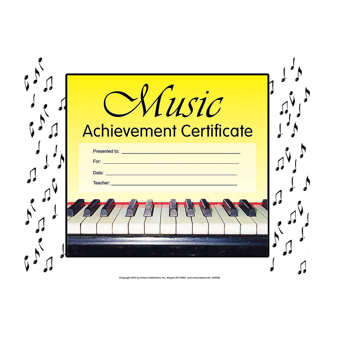 SCHAUM Music Achievement Certificate Educational Piano Series thumbnail