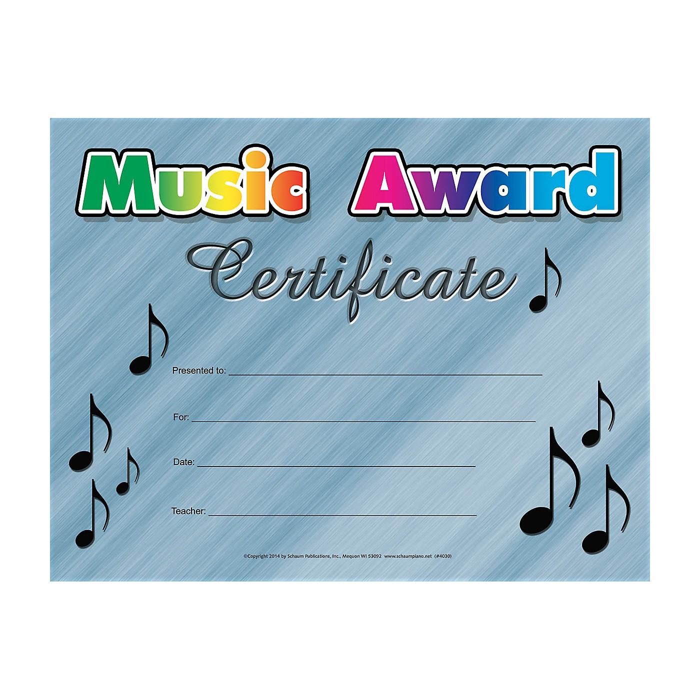 SCHAUM Music Award Certificate Educational Piano Series thumbnail