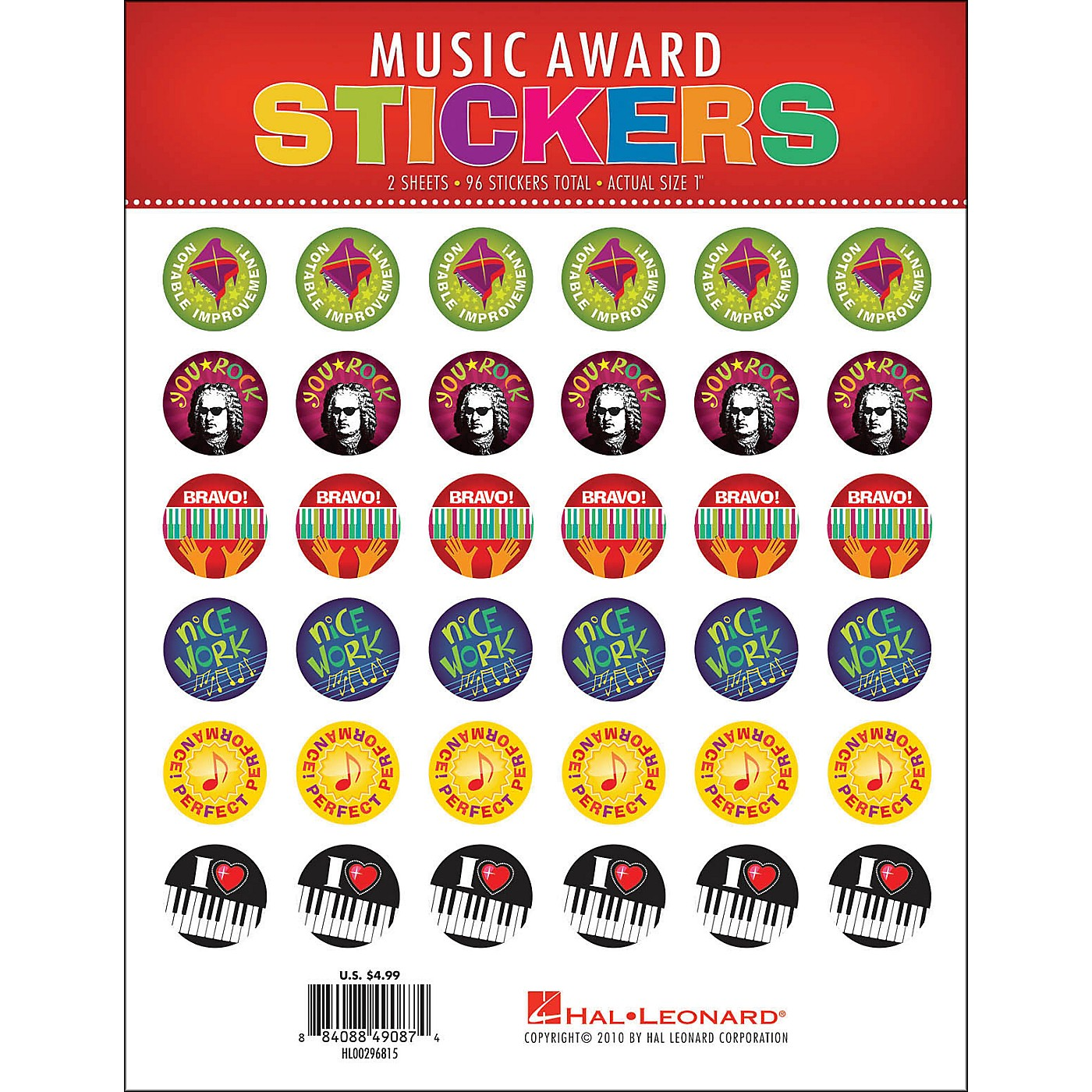 Hal Leonard Music Award Stickers Package thumbnail