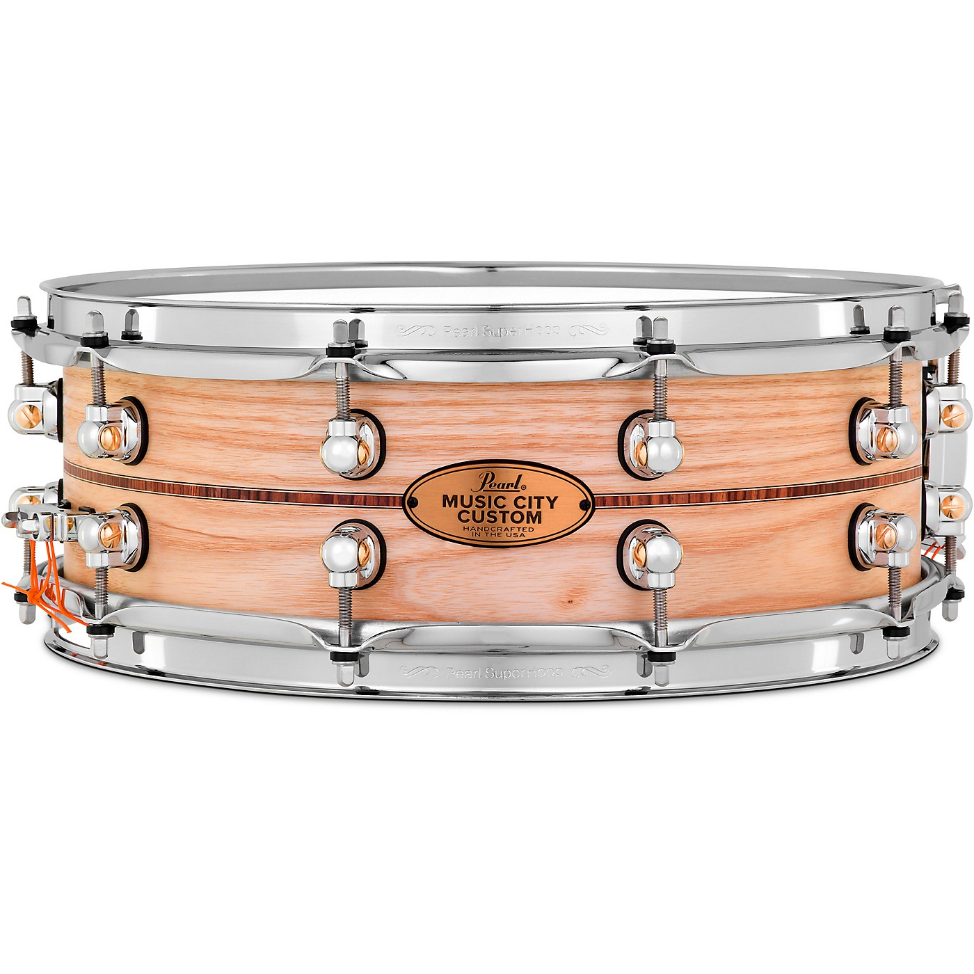 Pearl Music City Custom Solid Shell Snare Ash with Boxwood-Rose Inlay thumbnail