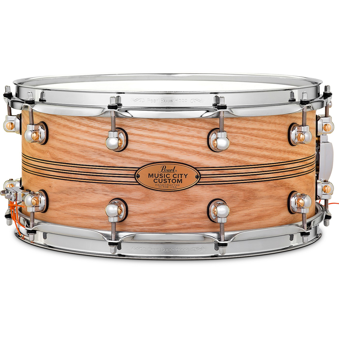 Pearl Music City Custom Solid Shell Snare Ash with Boxwood-Rose TriBand Inlay thumbnail