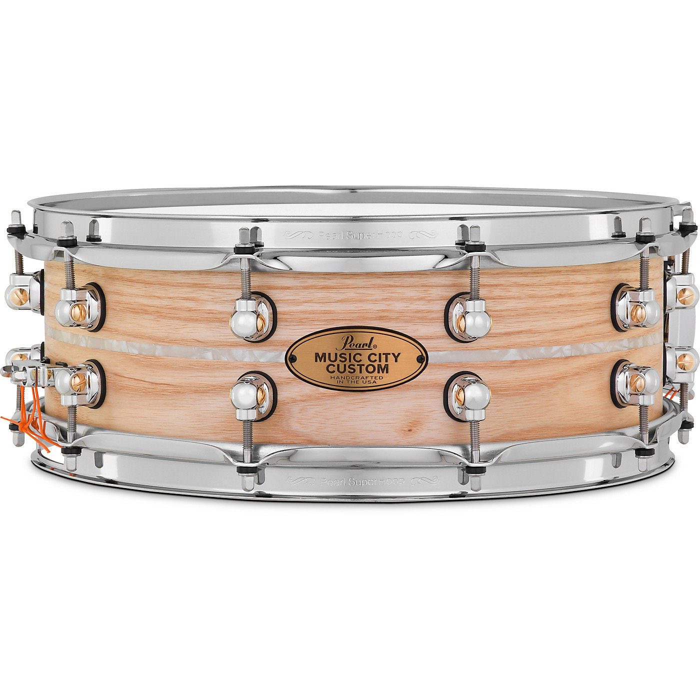 Pearl Music City Custom Solid Shell Snare Ash with Nicotine Marine Inlay thumbnail