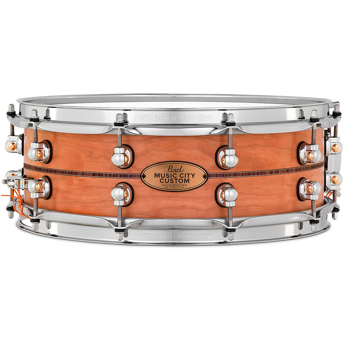 Pearl Music City Custom Solid Shell Snare Cherry with Kingwood Center Inlay thumbnail