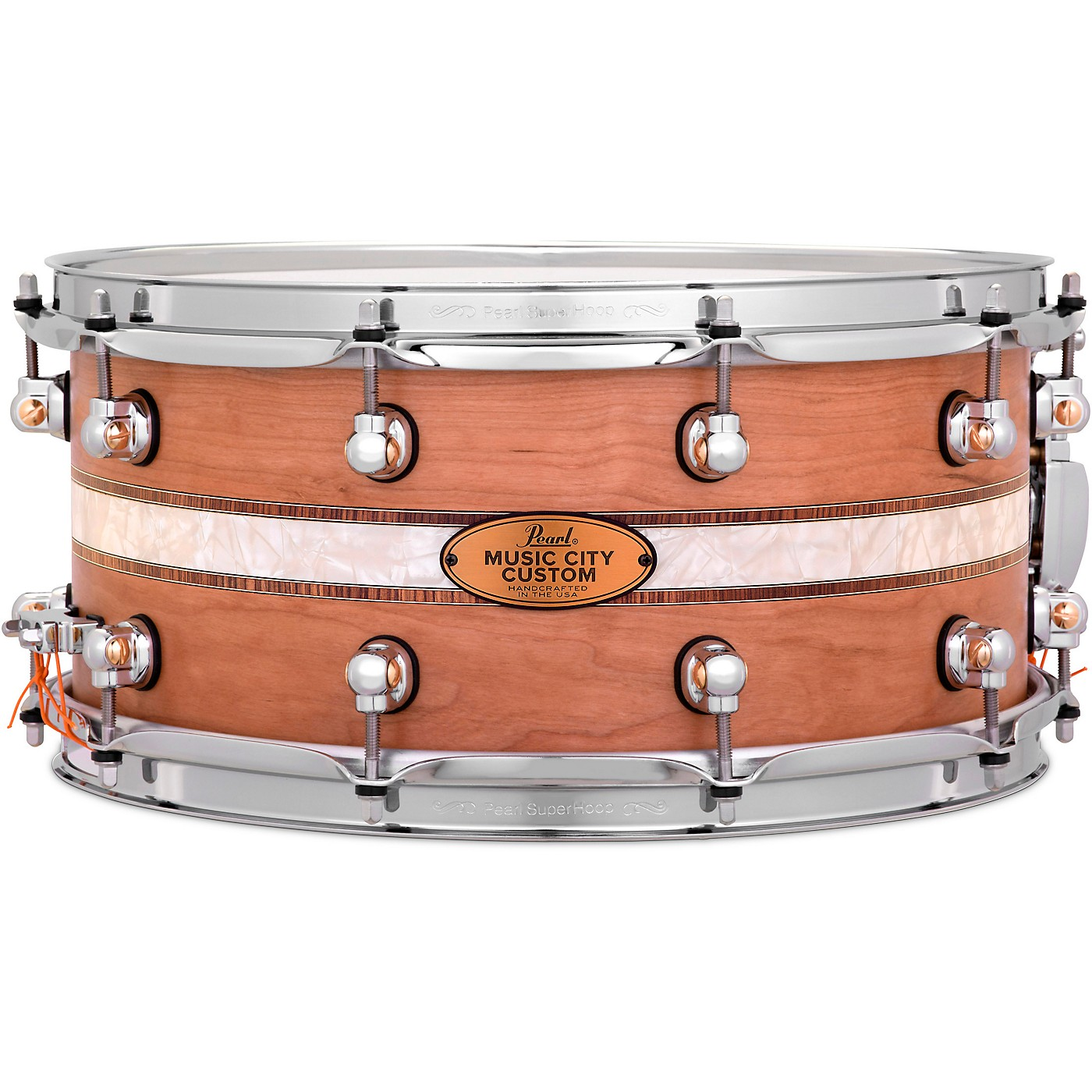 Pearl Music City Custom Solid Shell Snare Cherry with Kingwood Royal Inlay thumbnail
