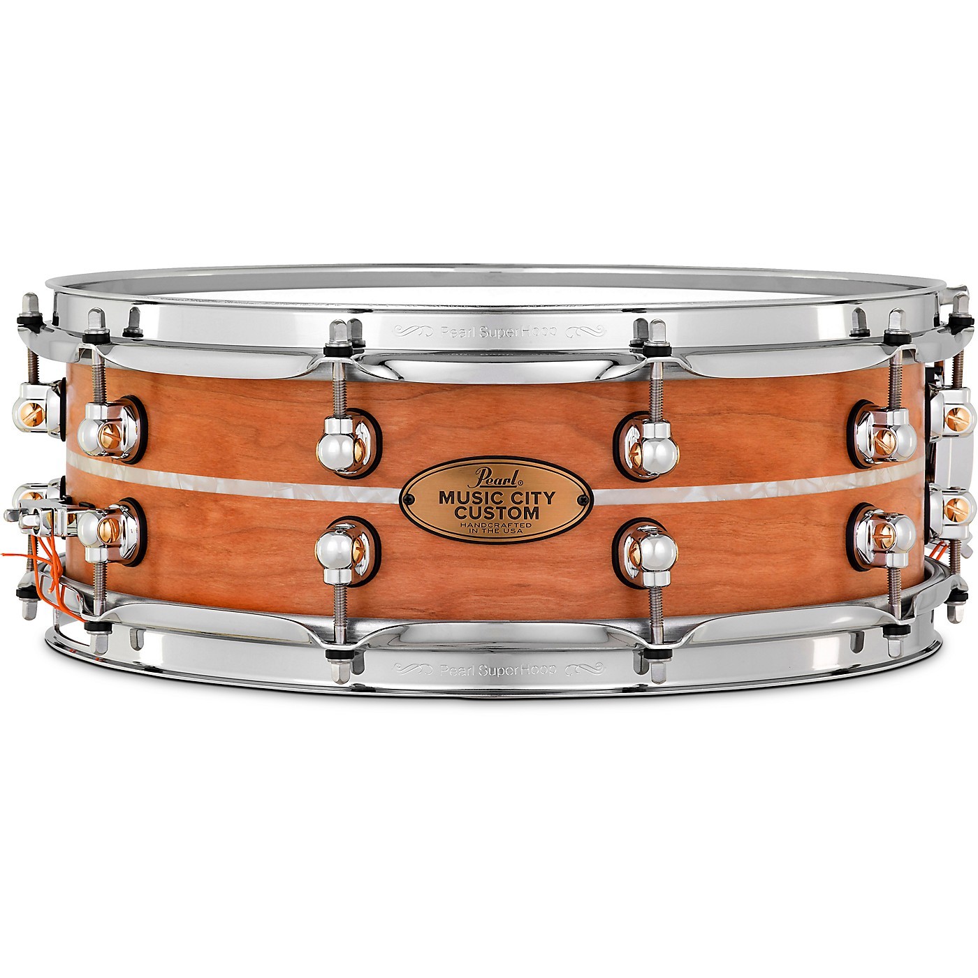 Pearl Music City Custom Solid Shell Snare Cherry with Nicotine Marine Inlay thumbnail