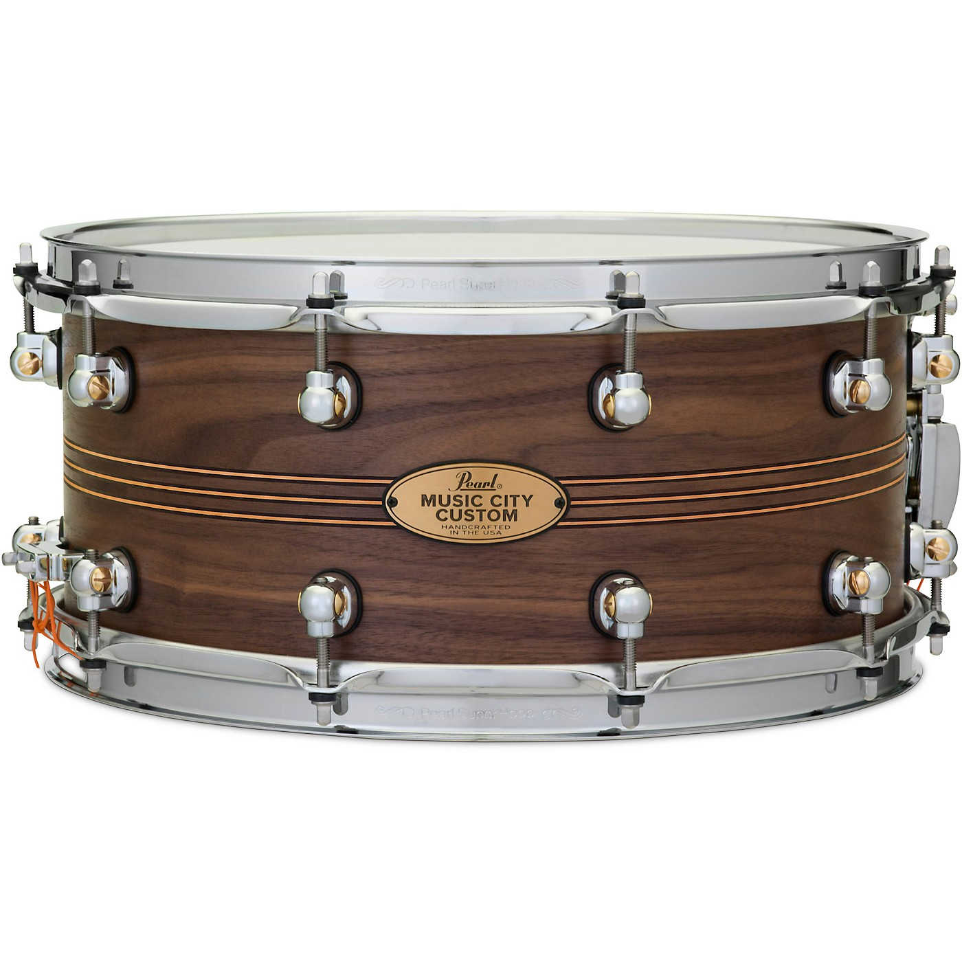 Pearl Music City Custom Solid Shell Snare Walnut with Boxwood-Rose TriBand Inlay thumbnail