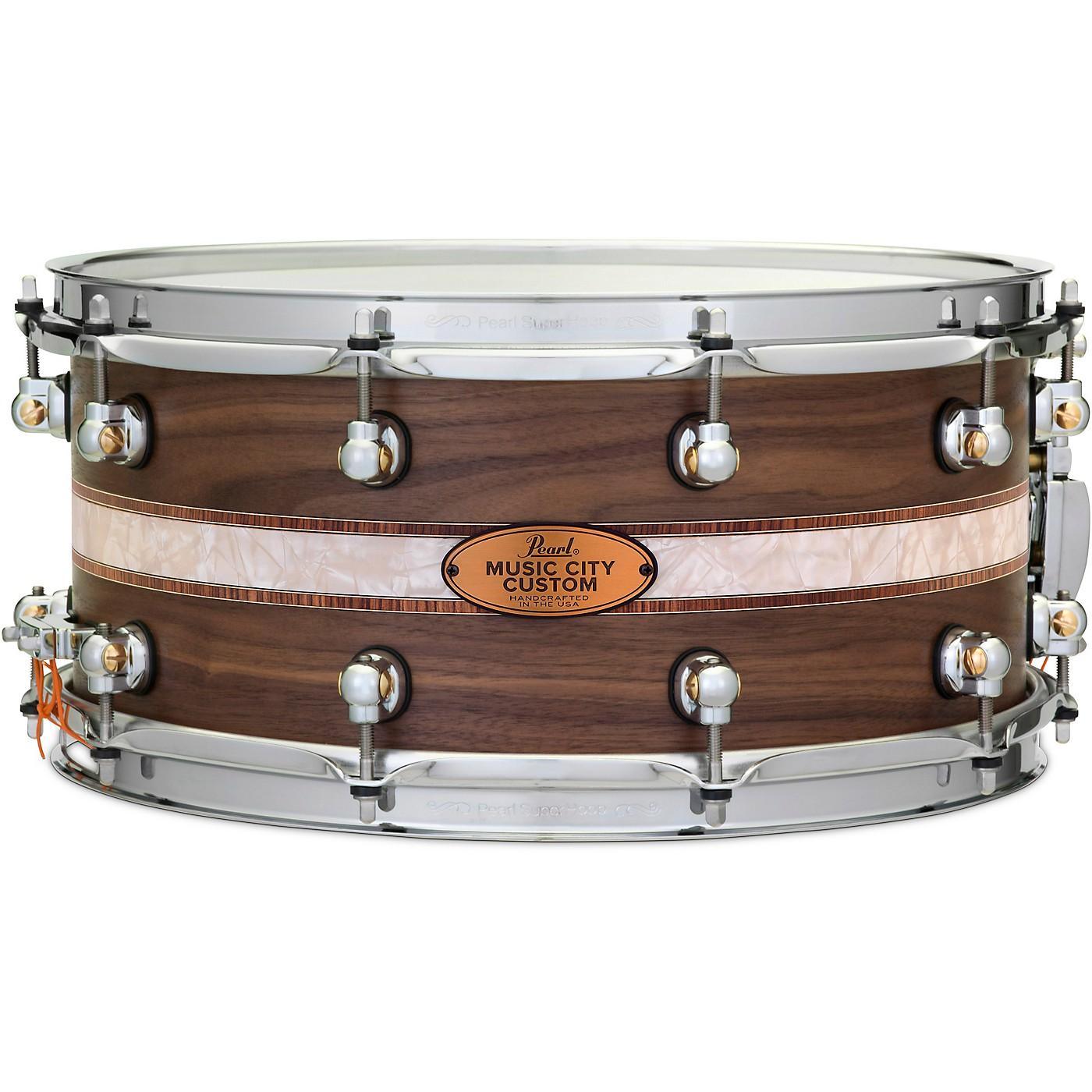 Pearl Music City Custom Solid Shell Snare Walnut with Kingwood Royal Inlay thumbnail