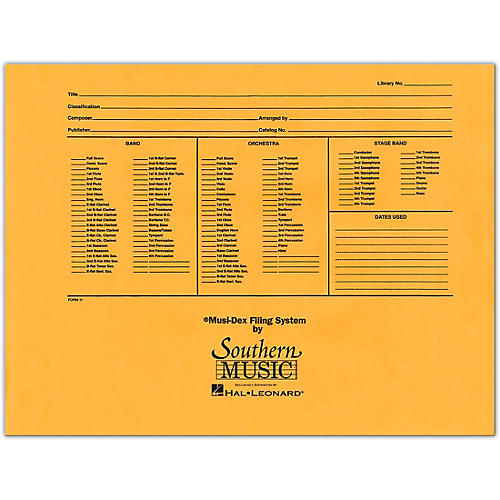 Southern Musidex Band/Orchestra Concert Size Filing Envelope Concert Band thumbnail