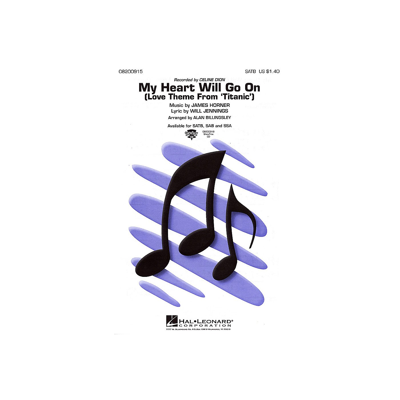 Hal Leonard My Heart Will Go On (from Titanic) 2-Part by Celine Dion Arranged by Alan Billingsley thumbnail