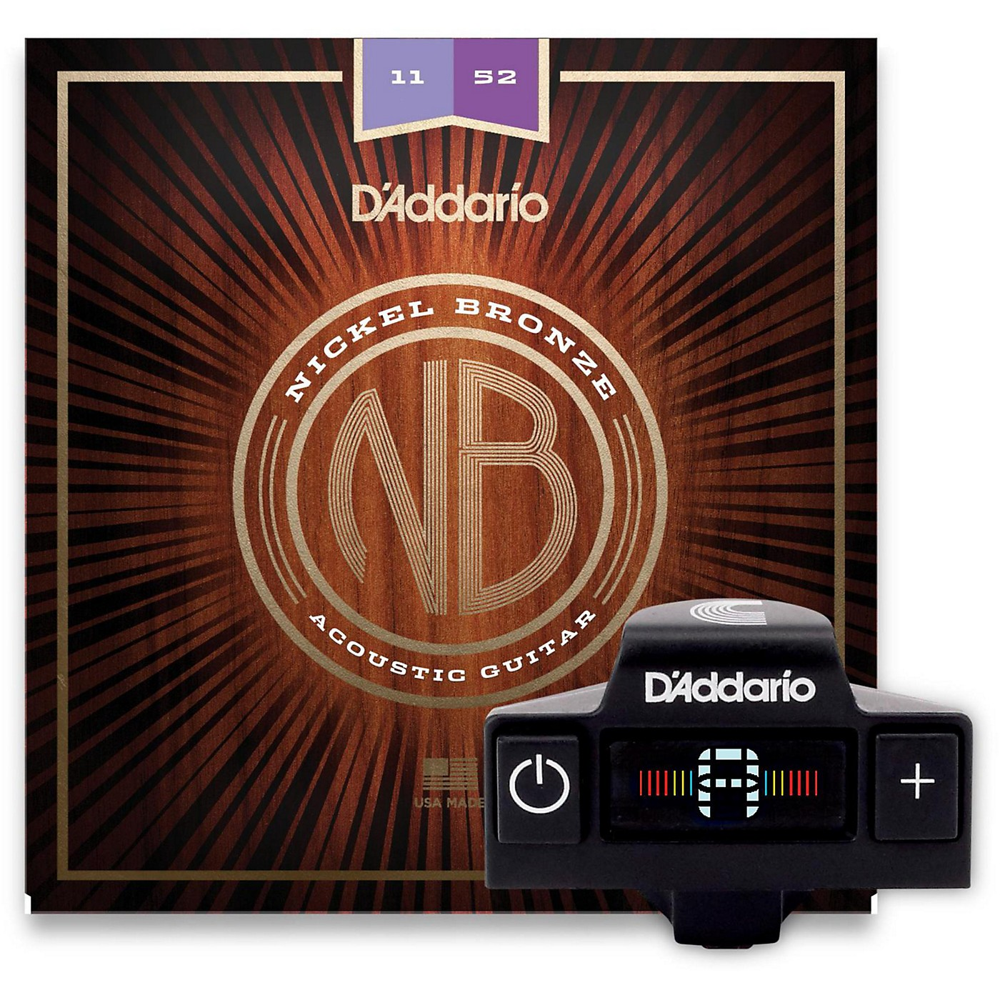 D'Addario NB1152 Nickel Bronze Custom Light 3-Pack Acoustic Strings and NS Micro Soundhole Tuner with Color Screen thumbnail