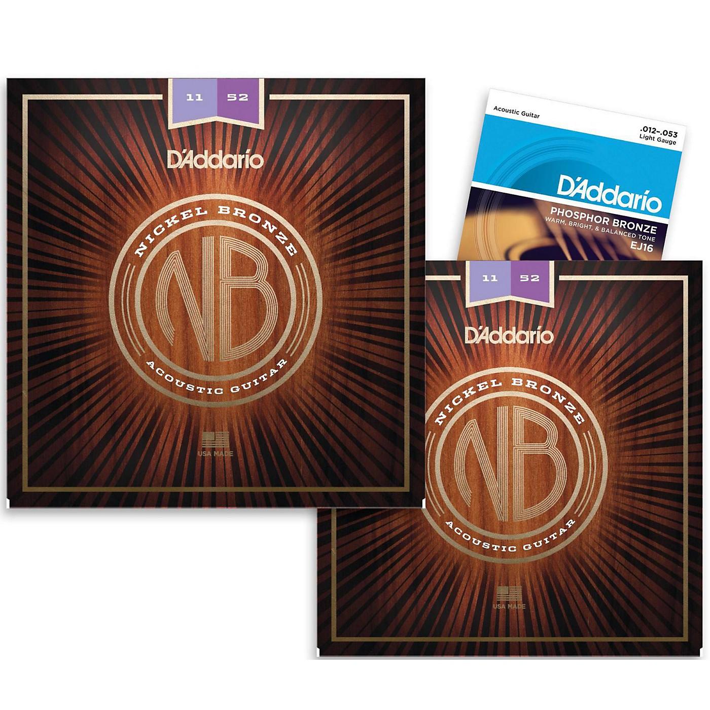 D'Addario NB1152 Nickel Bronze Custom Light Acoustic Strings 2-Pack with EJ16 Phosphor Bronze Light Single-Pack thumbnail