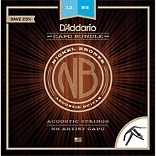 D'Addario NB1253 Nickel Bronze Acoustic Guitar Strings, Light, 12-53 and NS Artist Capo
