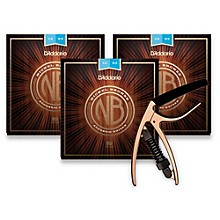 D'Addario NB1253 Nickel Bronze Light 3-Pack Acoustic Strings and NS Reflex Capo Antique Bronze