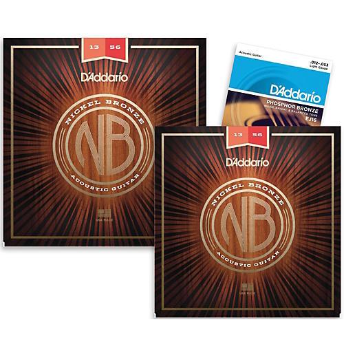 D'Addario NB1356 Nickel Bronze Medium Acoustic Strings 2-Pack with EJ16 Phosphor Bronze Light Single-Pack thumbnail