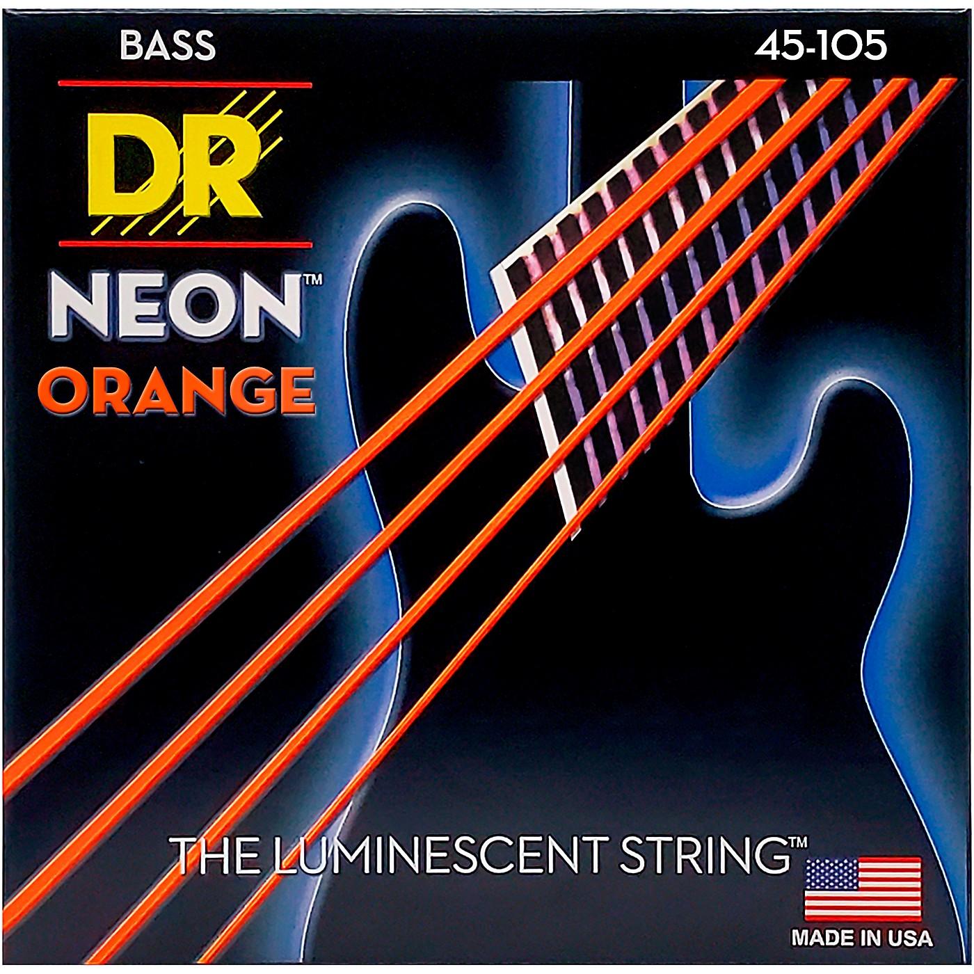 DR Strings NEON Hi-Def Orange Bass SuperStrings Medium 4 String thumbnail