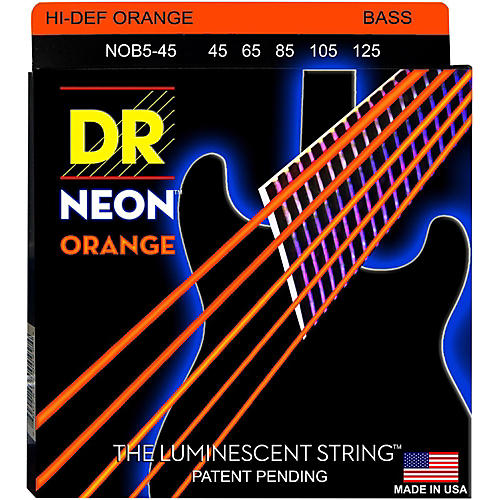 DR Strings NEON Hi-Def Orange Bass SuperStrings Medium 5-String thumbnail