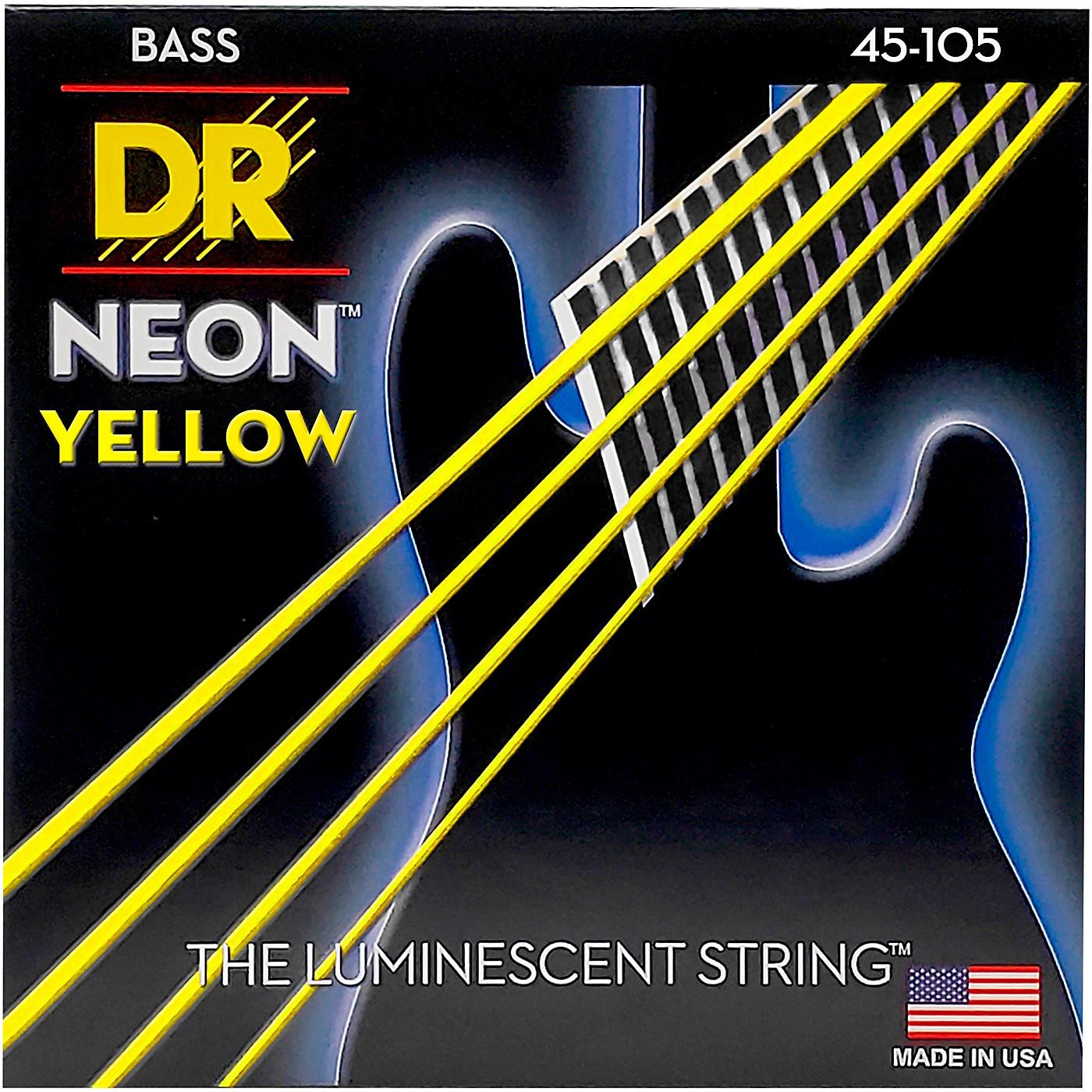 DR Strings NEON Hi-Def Yellow Bass SuperStrings Medium 4-String thumbnail