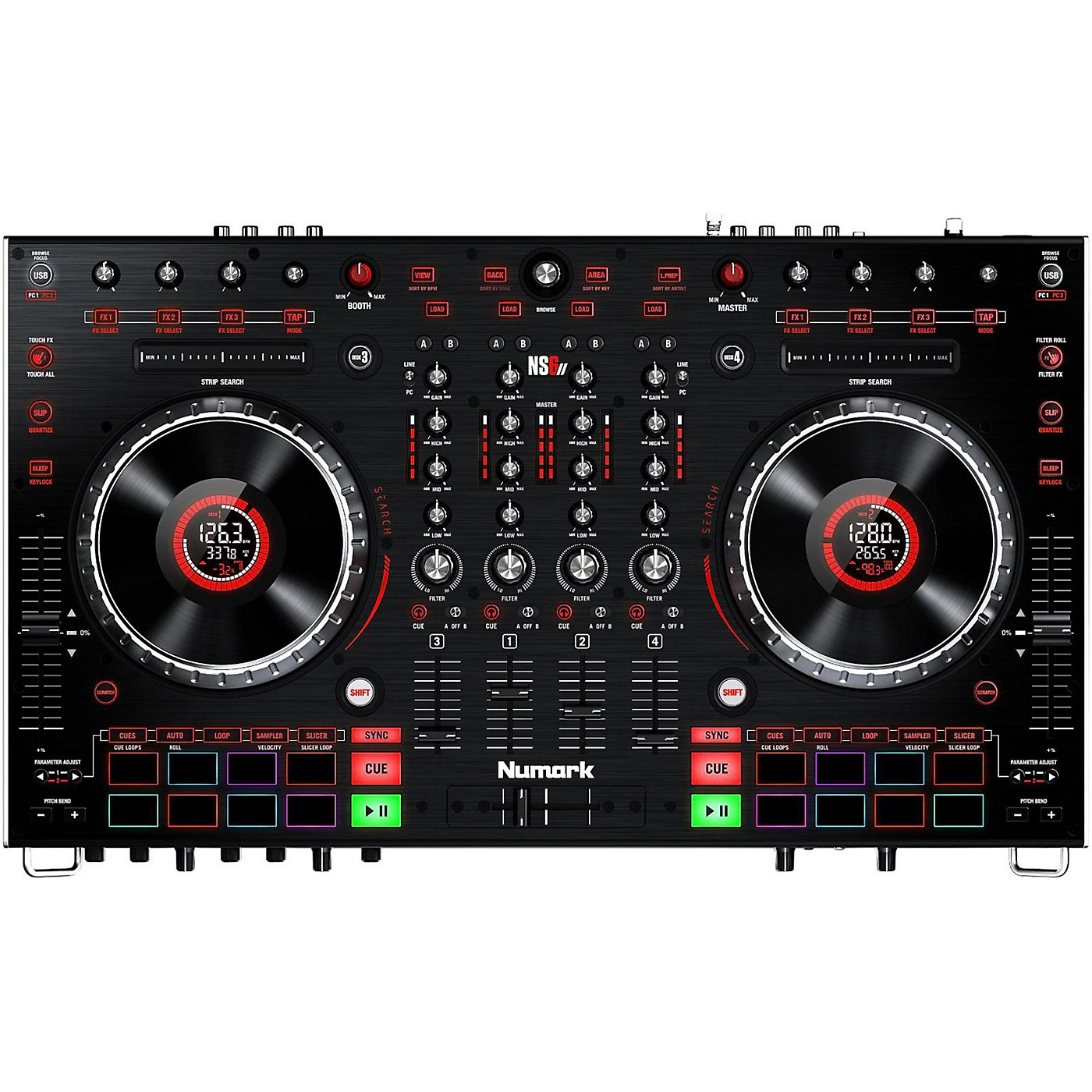 Numark NS6II Premium 4-Channel Serato DJ Controller with Dual USB and HD Color Displays thumbnail