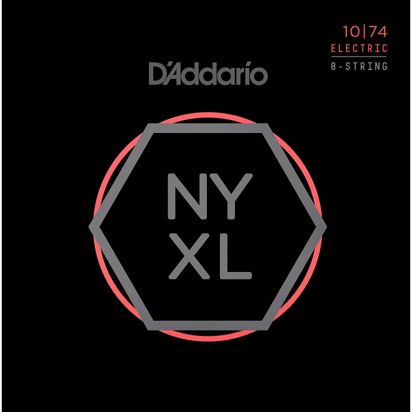 D'Addario NYXL1074 8-String Light Top/Heavy Bottom Nickel Wound Electric Guitar Strings (10-74) thumbnail