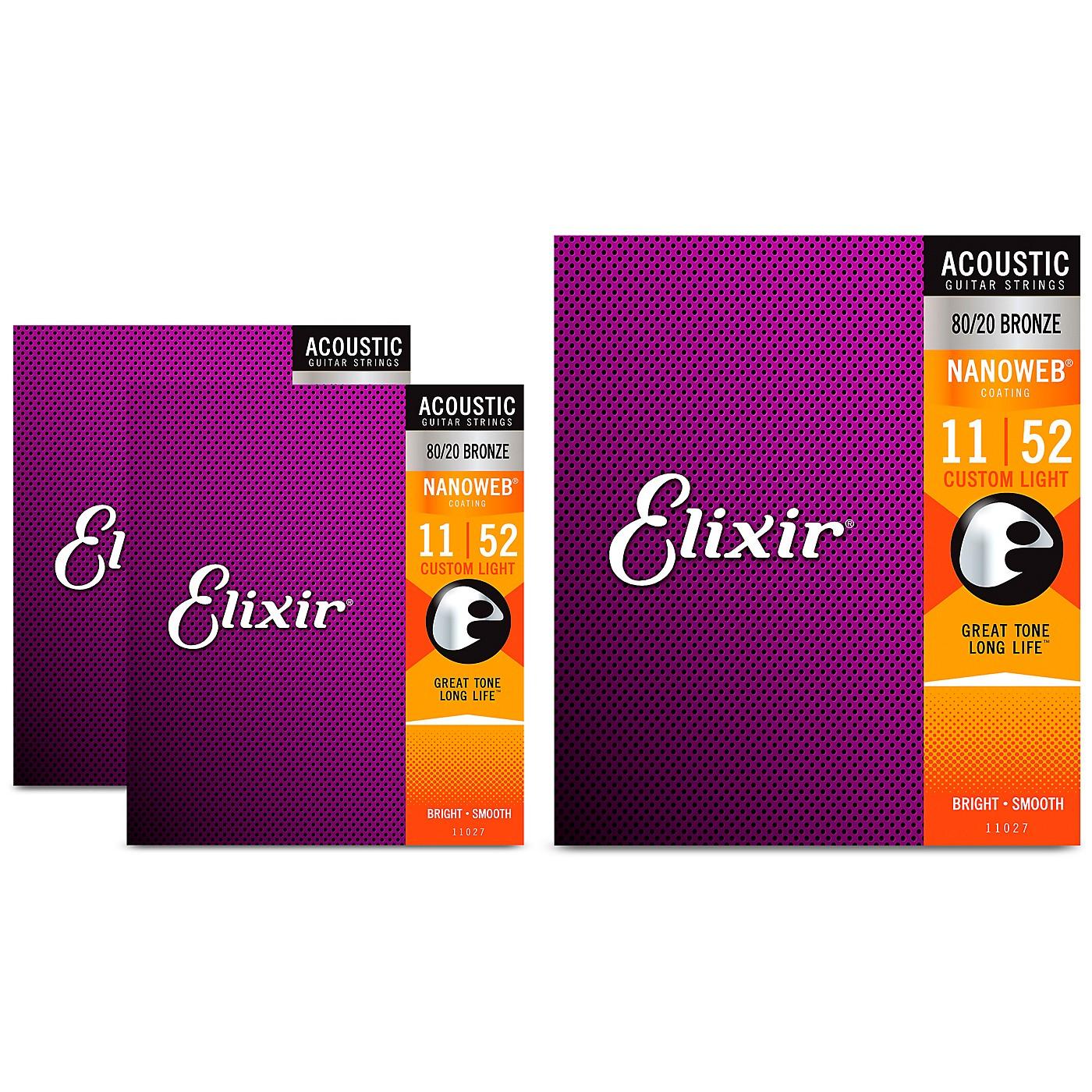Elixir Nanoweb Custom Light Acoustic Guitar Strings 3 Pack thumbnail