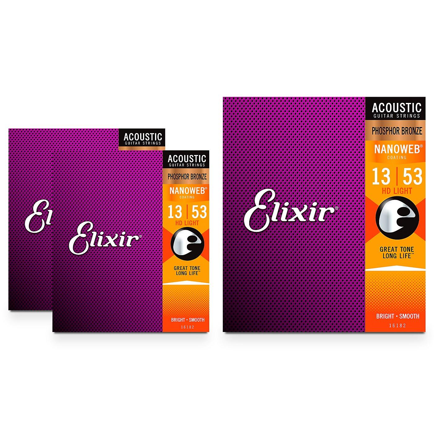 Elixir Nanoweb HD Light Phosphor Bronze Acoustic Guitar Strings 3 Pack thumbnail