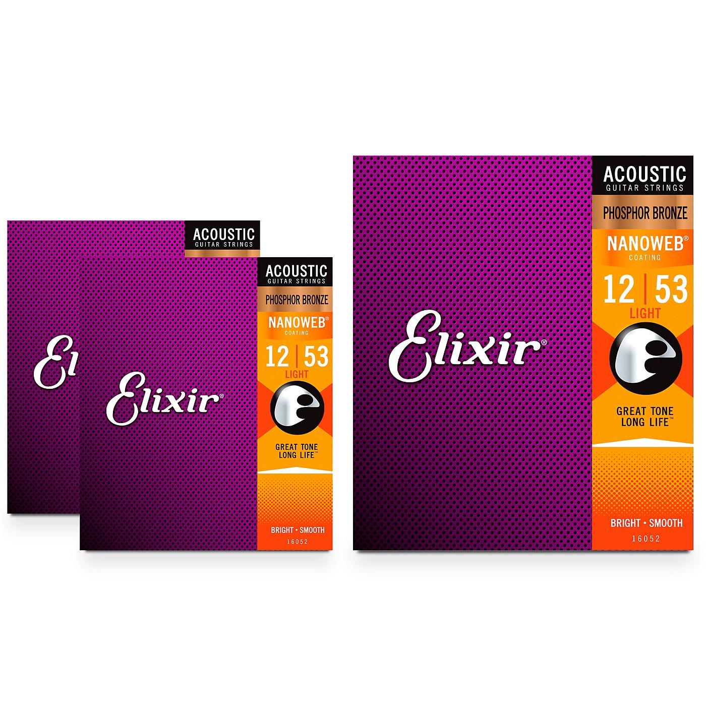 Elixir Nanoweb Light Phosphor Bronze Acoustic Guitar Strings 3 Pack thumbnail