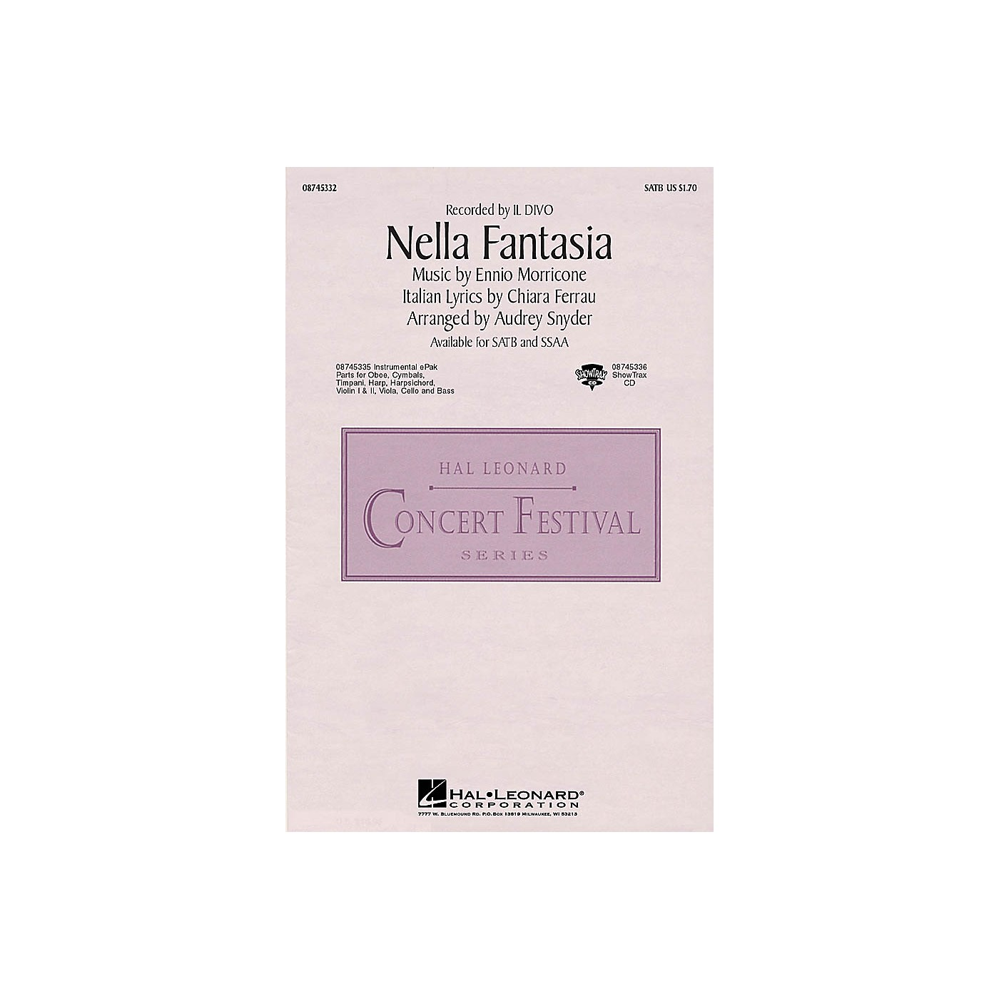 Hal Leonard Nella Fantasia (In My Fantasy) SATB by Il Divo arranged by Audrey Snyder thumbnail